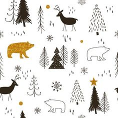 Gold, bear, deer, Christmas tree 2018 art design landspacing to plant Cool Christmas Trees, Christmas Tree Design, Christmas Drawing, Christmas Print, Christmas Patterns, White Christmas, Christmas Holiday, Xmas, Illustration Noel