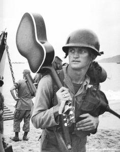Soldier lands in Vietnam, 1965.