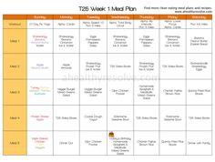 T25 Week 1 Clean Eating Meal Plan www.ahealthyresolve.com