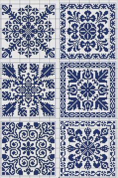 More square tiles - Chart for cross stitch or filet crochet. Cross Stitch Borders, Crochet Borders, Cross Stitch Samplers, Cross Stitch Charts, Cross Stitch Designs, Cross Stitching, Cross Stitch Patterns, Motifs Blackwork, Blackwork Embroidery
