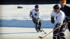 Hockey on Kangaroo Lake at the first Door County Pond Hockey Tournament. Watch the video!
