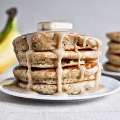 Healthy pancakes that taste like banana bread. Love!