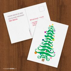 'Stache Tree holiday cards
