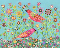 Bohemian Birds Collage Painting Mixed Media Bird and by Sascalia, $55.00