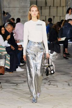 Loewe spring Spring 2016—obsessed with these metallic silver pants