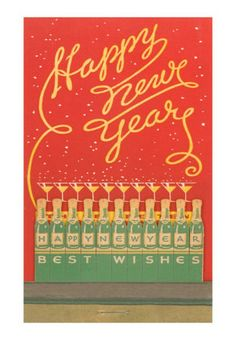 Happy New Year vintage matchbook. Love the design incorporating the matches! Happy New Year 2015, Year 2016, Book Labels, New Year Wallpaper, Matchbox Art, Christmas And New Year, Christmas Cards, Christmas Sentiments, Christmas Holiday