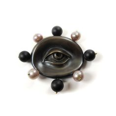 Gabriella Kiss Oxidized Bronze Lover's Eye Pin With Pink Pearls & Black Jade
