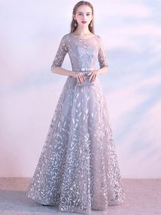 A line Tulle Prom Dresses with Sleeves Flowers Evening Dress - Our Email Address: moonlightmmll when you order please tell me your phone number foEr - Gown Party Wear, Hijab Dress Party, Tulle Prom Dress, Bridesmaid Dress, Hijab Gown, Party Gowns, Indian Gowns Dresses, Indian Fashion Dresses, Prom Dresses With Sleeves