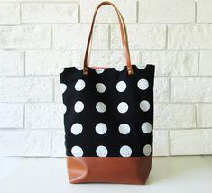 Große Polka-Dot-Beutel Shopper-Tasche schwarz und weiß von byMART