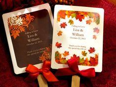 wedding shower favors | AUTUMN FALL wedding favor hand fans - bridal shower baby Thanksgiving ...