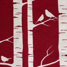 50 - Birds in birch - Birch Forest by Lara Cameron from Kelani Fabric Obsession Birch Forest, Birch Trees, Kirigami, Silhouette Painting, Red Fabric, Dark Backgrounds, Christmas Inspiration, Painting Inspiration, Metal Art