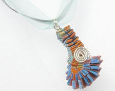 Necklace with Woven Paper Pendant by #PurpleDotBoutique on Etsy #gifts