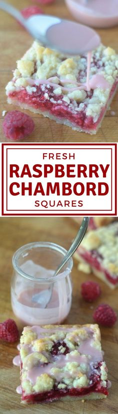 Raspberry Chambord Squares ~ fresh juicy raspberries baked right into a buttery shortbread crumble crust & then topped w/ Chambord laced glaze ~ the liqueur gives this simple dessert an elegant flavor! »» want to make w/black raspberries or modify to BlackBerry Chambord Sq's