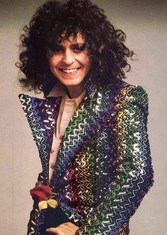 Marc Bolan in Biba jacket with ziggurat sequins 1973
