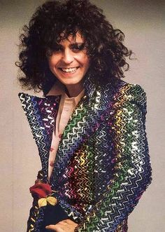 Marc Bolan in Biba jacket with ziggurat sequins 1973
