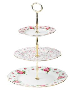 Royal Albert Old Country Roses White Vintage 3 Tier Cake Plate - Fine China - Macy's