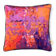 Lavender Stucco Printed Velvet Cushion: A luxurious printed velvet cushion with feather filled pad. Contrast fabric back. Susi Bellamy creates vibrant, colorful 'art for the sofa' textiles based on original and unique artwork painted in the studio. Her artwork is inspired by her great love of colour and the time she spent in Florence, Italy. These cushions work well in groups - adding a pop of color to both classic and contemporary interiors. Feather Filled Pad. Designed, Printed and Made in…