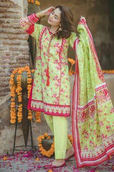 Bonanza Satrangi Colors of Eid Collection Embroidered Dresses 2017 Beautiful Pakistani Dresses, Pakistani Formal Dresses, Pakistani Fashion Casual, Pakistani Dress Design, Pakistani Outfits, Indian Fashion, Indian Dresses, Eid Dresses, Cotton Dresses