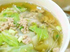 キャベツと豚挽肉のねぎごまスープの画像