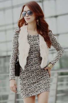 luxurious patterned dress and faux fur vest