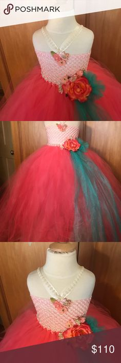 Pearl rose dream dress Handmade tutu dress height  Quality tulle fabric flower pearls and flowers pearl flower headbamd Dresses Formal