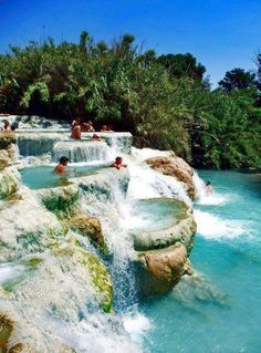 Over 28429 people liked this! Mineral Baths // Terme di Saturnia, Tuscany, Italy // Europe // bathing // swimming // blue water // paradise // exotic travel destinations // dream vacations // places to go Places Around The World, Oh The Places You'll Go, Places To Travel, Places To Visit, Travel Things, Travel Stuff, Vacation Destinations, Dream Vacations, Vacation Spots