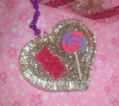 Gorgeous Hot Pink and Purple Heart Pendant by GlamCandyBoutique, $22.00