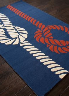 Sea Knotty - Navy Blue, Red and White Area Rug. Perfect for those hardwood floors in your beach cabin.