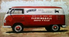 Milk Delivery Panel Bus, Oil on Panel, Santiago Michalek, VW painting,  Volkswagen painting, bus painting, oil painting