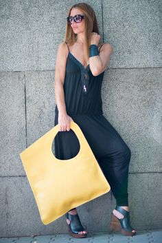 Tote, Borsa di cuoio, Large leather bad, Yellow Leather Bag, Premium Leather Tote Bag, HandMade Leather Bag by  EUG FASHION
