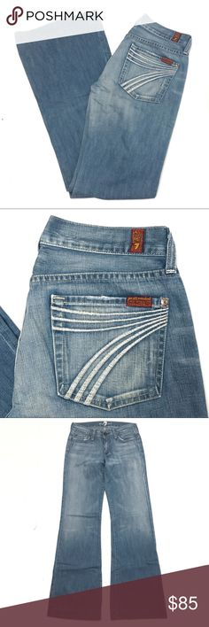 """7 for All Mankind Dojos in a Medium Wash Size 27 A pair of 74AM 7 for All Mankind dojo jeans in size 27.  8"""" rise / 33"""" inseam   Gently used in excellent condition with only minor wear on hems. 7 For All Mankind Jeans Flare & Wide Leg"""