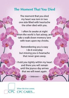 Grandma Quotes Discover The moment that you died - Pet bereavement poem The moment that you died my heart was torn in two one side filled with heartache the other died with you. Mom In Heaven Quotes, Missing Grandma Quotes, Grandmother Quotes, Funeral Poems For Grandma, Loss Of A Loved One Quotes, Grief Poems, Grief Quotes Mother, Grief Dad, Quotes About Grief