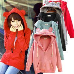Rabbit Bear Ear Hoodie Hoody❤Korean Japan jacket sweater coat sweatshirt top S-M