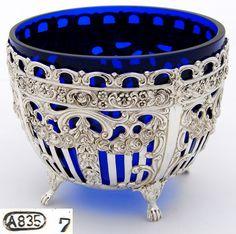 Vintage Belgian Continental (almost sterling) Silver Cobalt Glass Sugar or Bonbon Bowl, Dish Cobalt Glass, Cobalt Blue, Antique Glass, Antique Silver, Antique Bottles, Vintage Bottles, Vintage Perfume, Love Blue, Blue And White