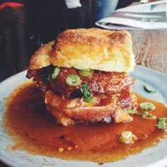 20 Insanely Awesome Eggless Breakfast Sandwich Recipes from buzz worthy Chicken and Waffles to classic smoked salmon bagels.: Fried Chicken and Biscuit Sandwich