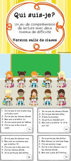 Teach Your Child to Read - Qui suis-je? Lis les indices pour eliminer les personnages jusqua ce quil reste un personnage. - Give Your Child a Head Start, and.Pave the Way for a Bright, Successful Future. French Teaching Resources, Teaching French, Reading Comprehension Games, Reading Games, Material Didático, French Education, Core French, French Classroom, French School