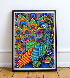 Colorful Paisley Peacock Fine Art Print for sale in my Etsy Store: https://www.etsy.com/shop/psychedeliczen Available in multiple sizes and paper types!