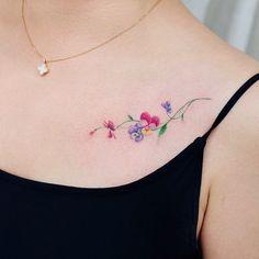 flower tattoos for inspiration. How to choose and decide to choose a tattoo of a tattoo can be a daunting task. It& not as simple as choosing a new flows . Pansy Tattoo, Tattoo Femeninos, Flower Wrist Tattoos, Shape Tattoo, Dainty Tattoos, Pretty Tattoos, Finger Tattoos, Color Tattoo, Cute Tattoos