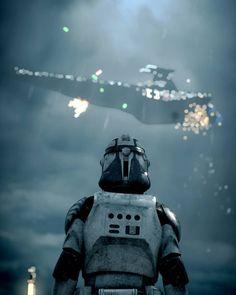 Trooper watching a Star Destroyer go down - Star Wars Clones - Ideas of Star Wars Clones - Trooper watching a Star Destroyer go down Star Wars Clone Wars, Star Wars Clones, Star Wars Meme, Star Wars Fan Art, Star Wars Concept Art, Star Trek, Star Destroyer, Star Citizen, Images Star Wars