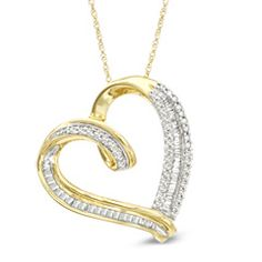 1/2 CT. T.W. Baguette and Round Diamond Tilted Heart Pendant in 10K Gold