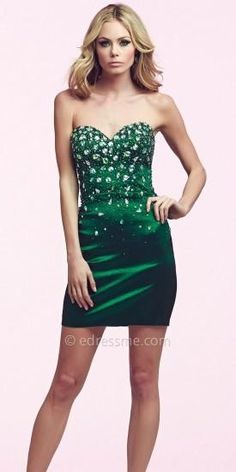 Jeweled Strapless Short Dress by Mac Duggal   #dress #dresses #holidaydress #cocktaildress #designer #macduggal #edressme