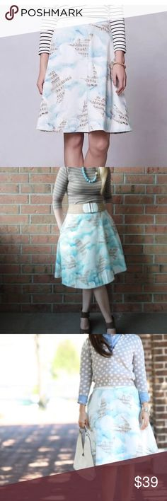 Anthropologie Maeve Songbird Skirt Sz 0 Anthropologie Light Blue Maeve Songbird Music Notes Circle Skirt Sz 0 Only worn a few times and in a very good condition. Retailed for $128  Details: - color: light blue, tan, and white - size: 0 - 100% cotton - lining: 100% acetate - side zipper - front pockets - knee length Anthropologie Skirts