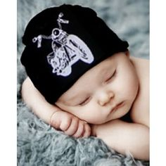 Axle Black Hat White Motorcycle Baby Hat