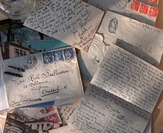 The Art of letter writing. These letters and cards were written by a French teenage girl to an English girl at school in Bristol. Pen Pal Letters, Old Letters, Letters Mail, Aesthetic Letters, You've Got Mail, Envelope Art, Handwritten Letters, Cursive, Lost Art