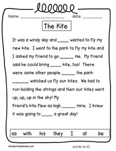 Sight Words - Cloze Activities - Grades 1-2 Cloze Reading, First Grade Reading Comprehension, Phonics Reading, Reading Comprehension Worksheets, Reading Passages, English Grammar For Kids, English Worksheets For Kids, English Lessons For Kids, First Grade Worksheets