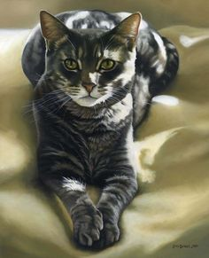 A beautiful portrait of the very serene cat, Topher. To have your cat immortalized in a portrait, visit leahdaviesart.com