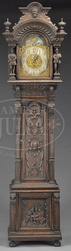 """American carved oak tall case cloc,k (1886-1909). Brass and silver dial marked """"Tiffany & Co."""""""