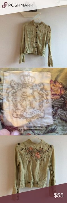 Sugar Lips jacket Sugar Lips of Los Angeles jacket. Absolutely adorable! Has the military style with wicked flower stiching! 4 buttons on each sleeve cuff. Totally rare! Sugar Lips Jackets & Coats