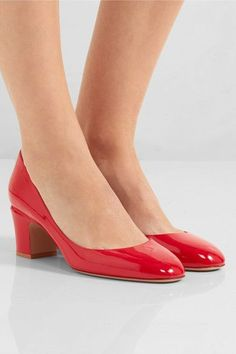 Heel measures approximately 60mm/ 2.5 inches Red patent-leather Slip on Made in ItalyLarge to size. See Size & Fit notes.
