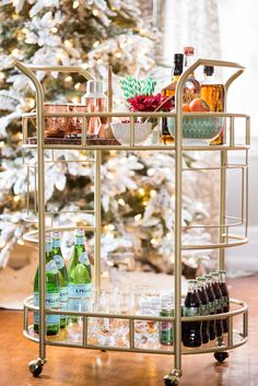 Click through for easy tips on stocking a super stylish holiday bar cart with @Walmart + @cydconverse #sponsored #RockThisChristmas #LiveBetter